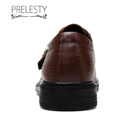 Prelesty Men Dressing Official Monk Shoes Slip On Handsome Crocodile Wedding Business Party