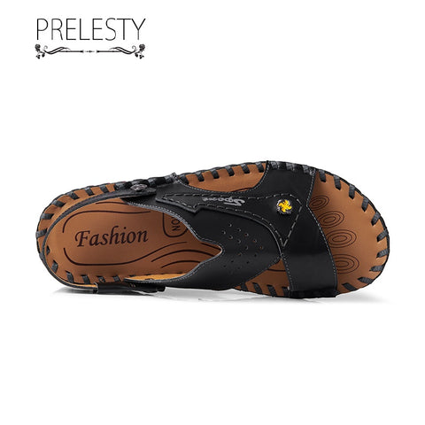 Prelesty Summer Soft Leather New Men Sandal Shoes Beach Outdoor Simple Breathable Comfortable High Quality