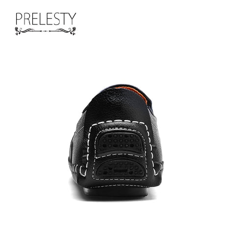 Prelesty New Handmade Cow Leather Shoes Men Driving Loafer Soft Lightweight Simple Design