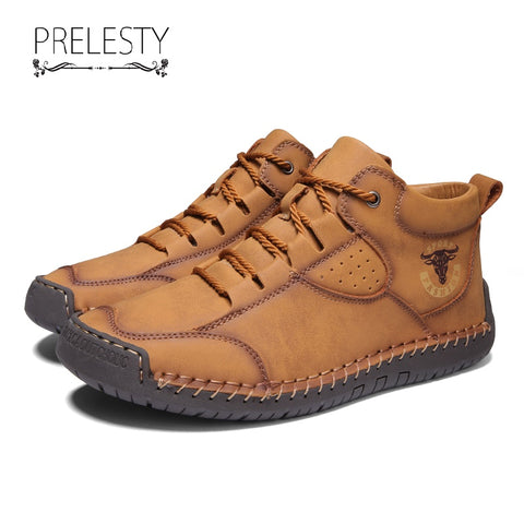Prelesty Big Size Soft Cow Leather Men's Boots Shoes High Top Breathable Durable Handcraft