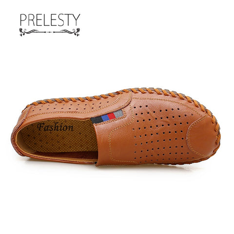 Prelesty Summer Breathable Holes Men's Sandal Shoes Comfortable Cool Cow Leather