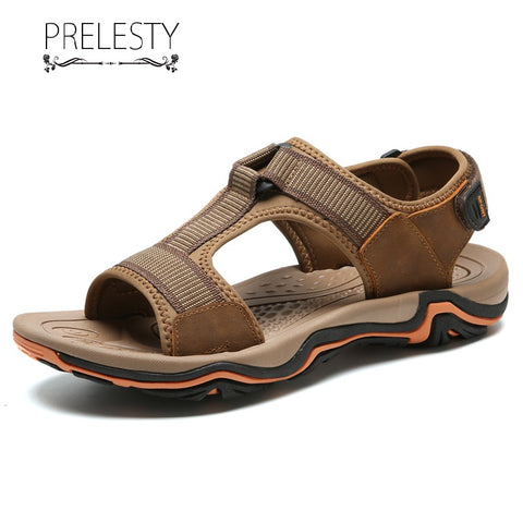Prelesty Fashion Summer Genuine Cow Leather Men Sandal Shoes Outdoor Simple Breathable Comfortable Handsome