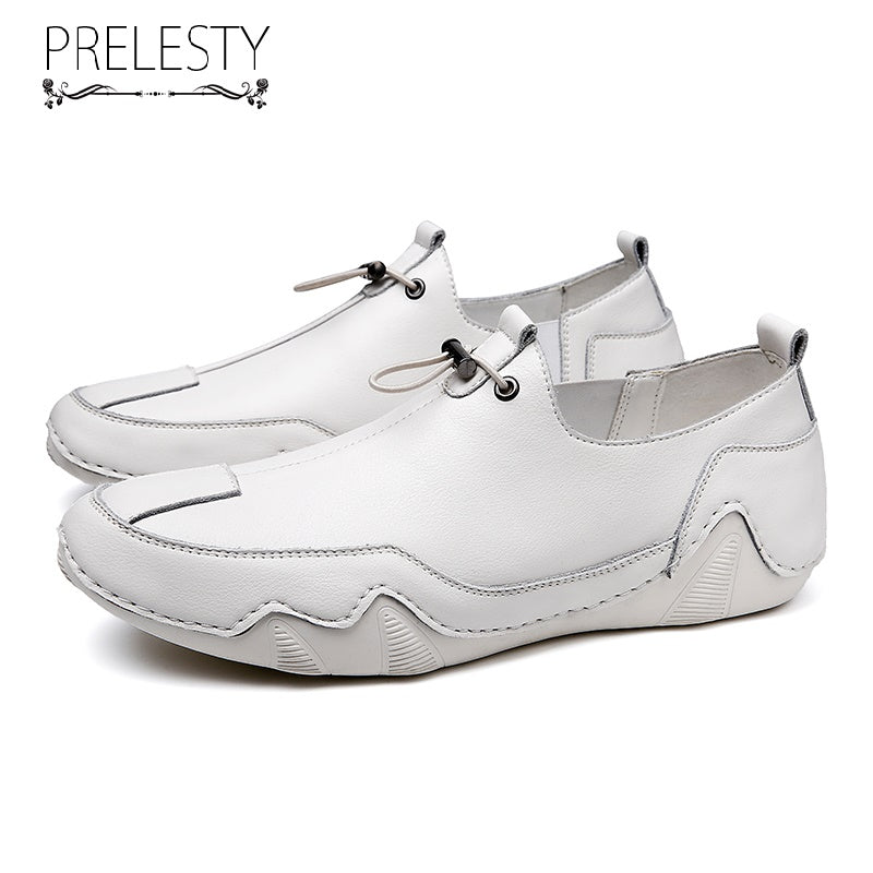 Prelesty Fashion Loafer Soft Cow Leather Men Driving Shoes Handsome Breathable Durable Use