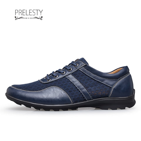 Prelesty Formal Men's Driving Shoes Oxfords Classic Handmade Stitching Cow Leather Mesh