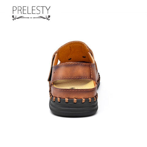 Prelesty Large Size Summer Cow Leather Men Sandal Shoes Outdoor Breathable Hollow Out Beach Waterproof