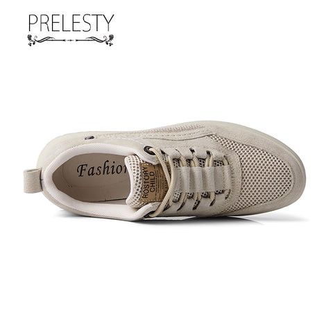 Prelesty Classic Men Formal Oxfords Shoes Handsome Business Smart Comfortable Flat Rubber Bottom Mesh Cow Leather