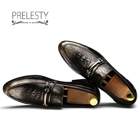 Crocodile Slip On Business Wedding Patent Leather Oxford Shoes