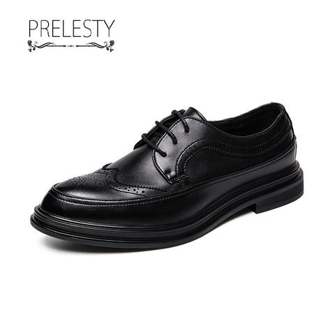Prelesty Classic Italian Design Men's Formal Business Shoes Brogues Carved