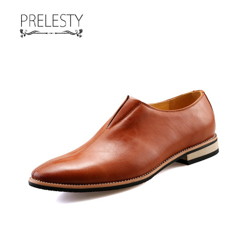 Prelesty Handsome Men's Fashion Business Slip On Formal Shoes Lightweight