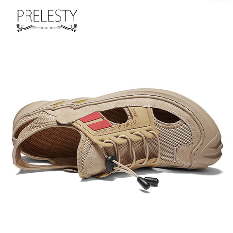 Prelesty Good Quality Classic Casual Men Sandal Shoes Breathable Rubber Bottom Cap Toe Protect Design