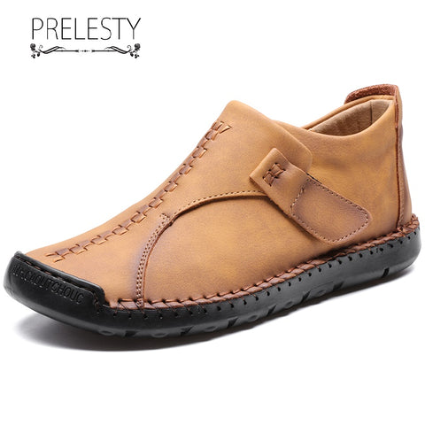 Prelesty Winter Fashion Men Boots Shoes High Tops Handsome Comfortable Soft Genuine Leather
