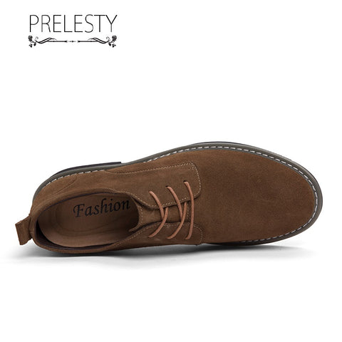Prelesty Genuine Suede Leather Men Dress Shoes Formal Lace Up Smart Wingtip Height Increased