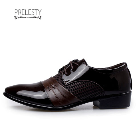 Prelesty Wedding Leather Patchwork Men Dress Shoes Business Office Style Handsome Cool