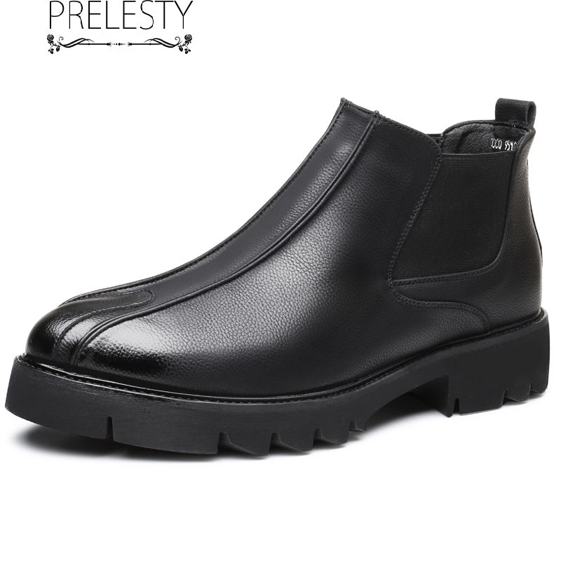 Prelesty English Style Leather Men's Riding Chelsea Boots Shoes High Tops Business Office