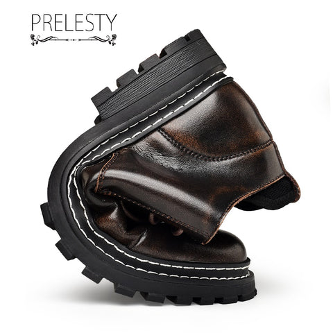 Prelesty Retro Genuine Leather Men Boots Shoes High Tops Lace Up Handsome Breathable