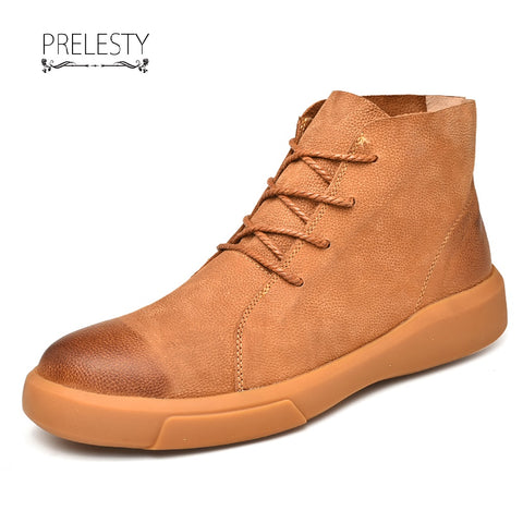 Prelesty Winter Men Boots Vintage Rubber Outsole English Style Cow Leather