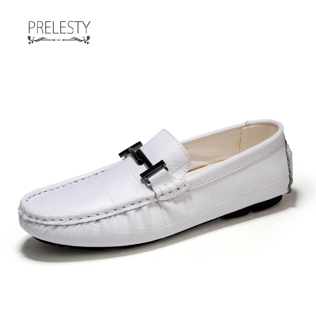 Prelesty Big Size 38~50 Men's Driving Shoes Slip On Handmade Leather Loafers High Quality Plaid