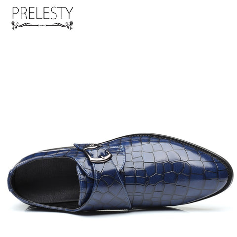 Prelesty Big Size Classic Men Formal Shoes Business Plaid Buckle Comfortable Wedding Shining