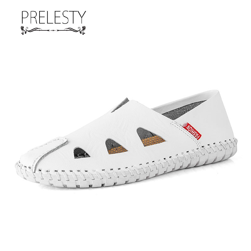 Prelesty Big Size Summer Comfortable Good Soft Men Dress Shoes Loafer Casual Hollow Out Breathable Design