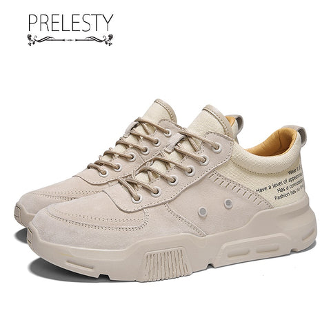 Prelesty Fashion Summer Cool New Men Formal Shoes Lace Up Design Comfortable Business Leather Breathable