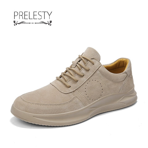 Prelesty Handmade British Autumn Brogue Men Suede Leather Formal Warm Shoes