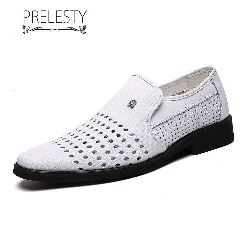 Prelesty Classic Italian Style Party Formal Hollow Out Men Dress Black Shoes Loafer Office Wedding