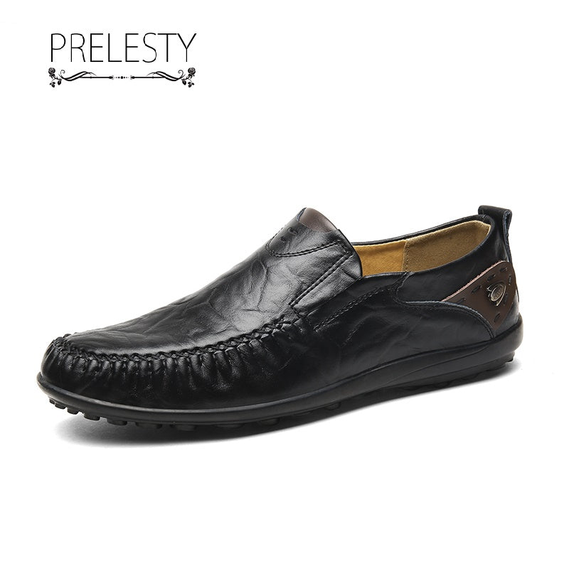 Prelesty Fashionable Men's Loafer Formal Soft Leather Driving Shoes Handmade Good Quality
