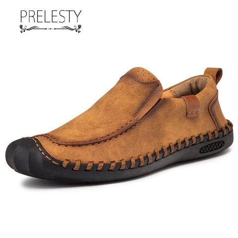 Prelesty Fashion Handmade Loafer Soft Genuine Cow Leather Men Driving Shoes Moccasin Lightweight Breathable