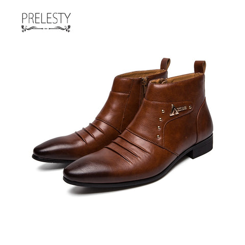 Prelesty English Leather Winter Men Boots Retro Handsome Riding Metalic