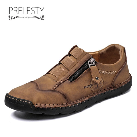 Prelesty Big Size Genuine Cow Leather Men's Loafer Shoes Breathable Durable Handcraft Zipper