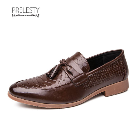 Prelesty Business Wedding Men Formal Slip On Tuxedo Shoes Breathable Soft Leather Plaid Design