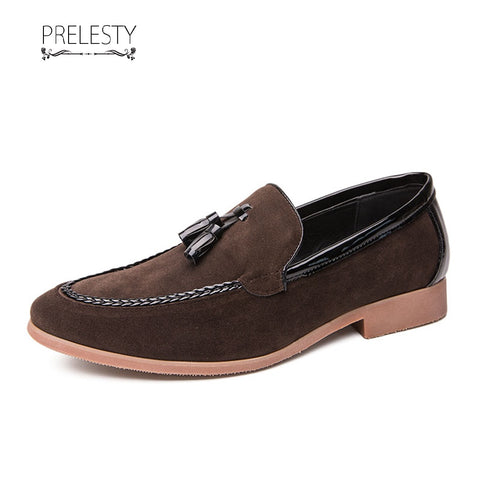 Prelesty Fashion Business Unique Wedding Men Formal Slip On Shoes Breathable Velvet Soft Leather