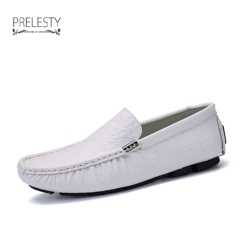 Brand Men Loafers Crocodile Skin Genuine Leather Men Driving Shoes