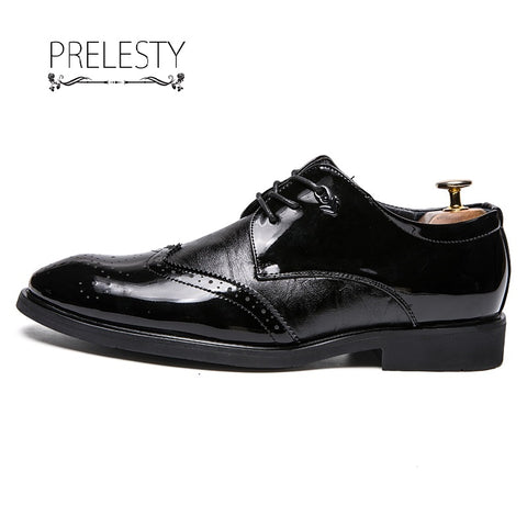 Prelesty Men Dress Lace Up Shoes Business Formal Handsome Bridal Leather Urban