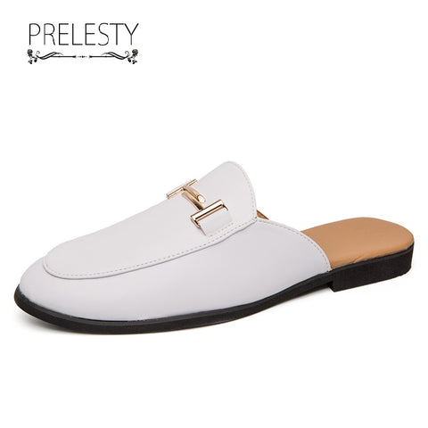 Prelesty Summer New Men Dress Shoes Formal Slip On Business Horsebit Bridal Flexible Cool