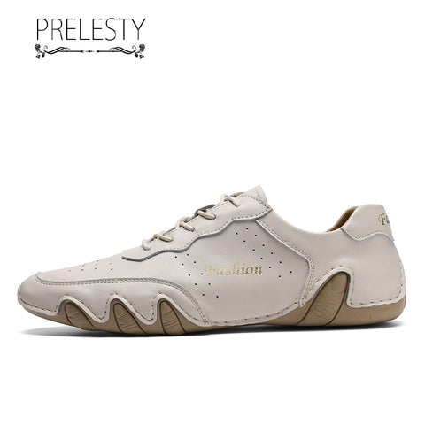Prelesty Men Formal Shoes Lace Up Business Genuine Leather Soft Light Comfortable Handsome Breathable Hand made