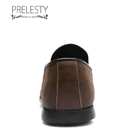 Prelesty Comfortable Men Driving Shoes Fashion Formal Loafer Soft Handsome Light Breathable Party Wedding