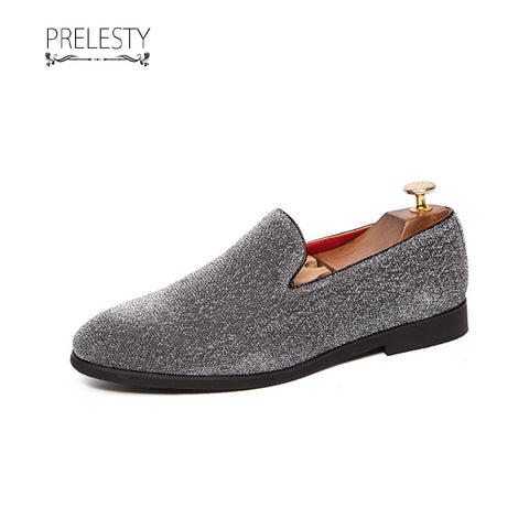 Prelesty Fashion Men Formal Shoes Slip On Loafer Smoking Business Party Wedding Shiny Design