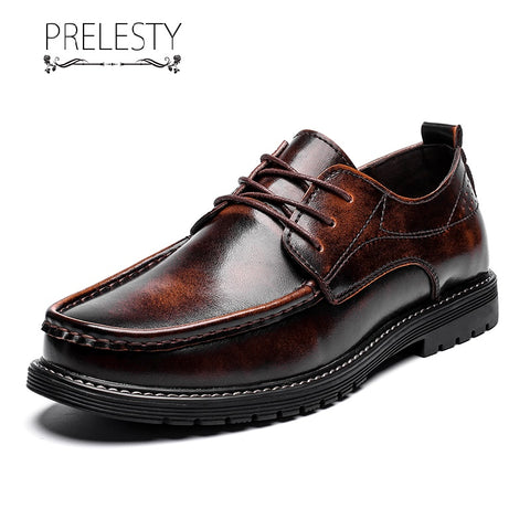 Prelesty Elegant Vintage Cool Men Formal Brogues Shoes Business Smart Flat Office High Quality Leather