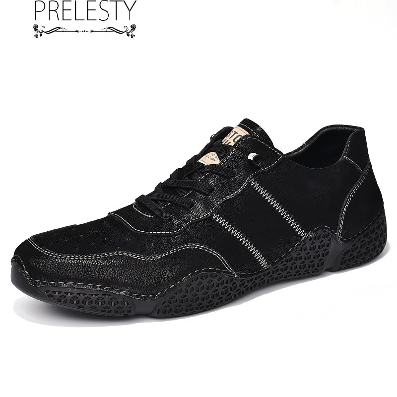 Prelesty Fashion Genuine Cow Leather Men Formal Shoes Rubber Bottom High Quality Driving
