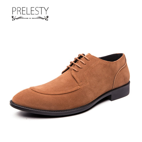 Prelesty Fashion Party Men Formal Office Shoes Brogues Smart Suede Business Soft Leather Dress