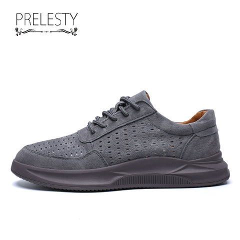 Prelesty Fashion Suede Leather Men Dress Shoes Formal Classic Lace Up Moccasins Flats