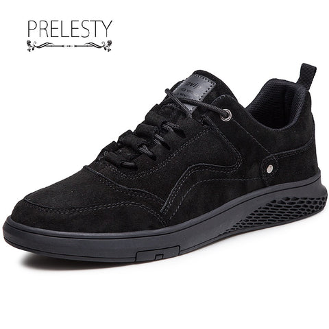 Prelesty Fashion Genuine Cow Leather Men Formal Office Shoes Business Dress Lace Up Rubber Bottom