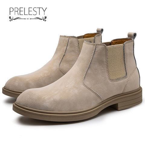 Prelesty Big Size 37-47 Fashion Classic Men's Chelsea Boots Shoes Genuine Leather High Quality