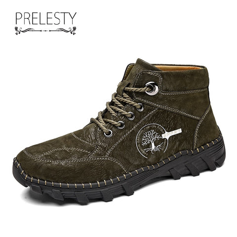 Prelesty Big Size 38-48 Luxury Men Boots Shoes Breathable Handsome Durable With Jeans Wearing