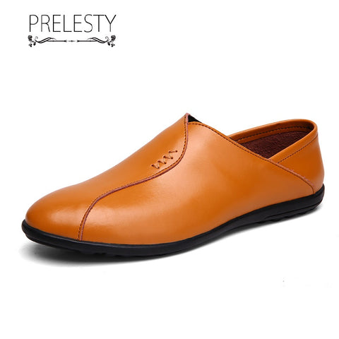 Prelesty Large Size Simple Design Genuine Leather Soft Men Driving Loafers Breathable Casual Shoes
