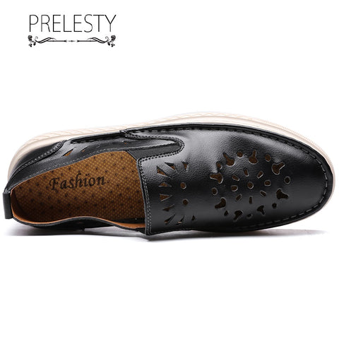 Prelesty Summer New Fashion Carved Casual Loafer Simple Soft Men Driving Shoes Moccasin Lightweight Breathable