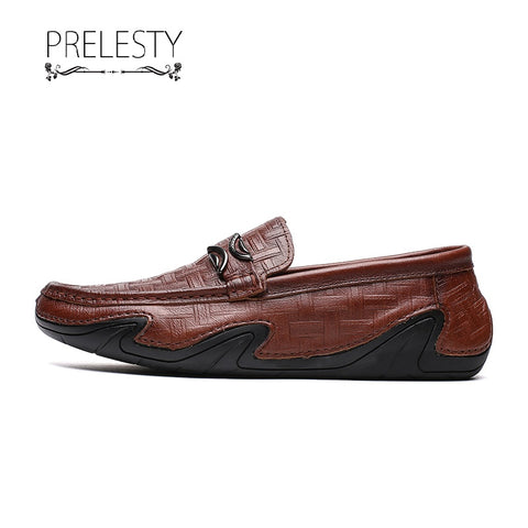 Prelesty Luxury Design Men Formal Office Slip On Shoes Business Smart Genuine Cow Leather Dress