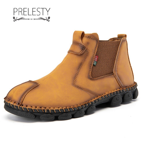 Prelesty English Style Soft Genuine Cow Leather Men's Chelsea Boots Shoes Breathable Durable