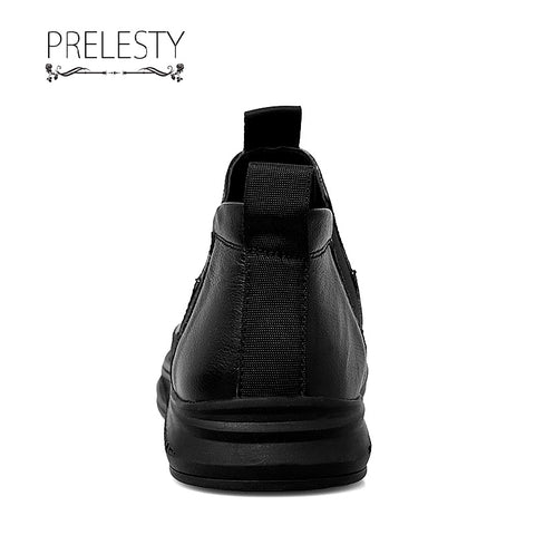 Prelesty Fashion Classic Design Formal Business Shoes Slip On High Tops Cool Breathable Leather